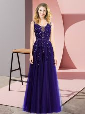 Sexy Purple Sleeveless Tulle Backless Prom Dresses for Prom and Party