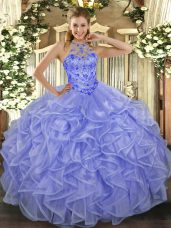 Traditional Organza Sleeveless Asymmetrical Quinceanera Gown and Beading and Ruffles