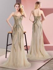 Most Popular Tulle Spaghetti Straps Sleeveless Sweep Train Side Zipper Beading Prom Gown in Champagne