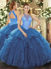 Blue Ball Gowns Organza High-neck Sleeveless Beading and Ruffles Floor Length Lace Up Vestidos de Quinceanera