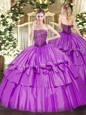 Classical Sleeveless Lace Up Floor Length Beading and Ruffled Layers Sweet 16 Quinceanera Dress