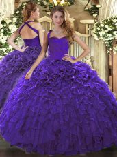 Designer Purple Sleeveless Ruffles Floor Length Quinceanera Dresses