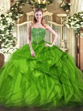 Organza Lace Up Ball Gown Prom Dress Sleeveless Floor Length Beading and Ruffles