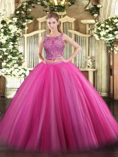 Best Hot Pink Scoop Lace Up Beading 15 Quinceanera Dress Sleeveless