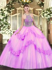 Shining Sleeveless Floor Length Beading and Appliques Lace Up Sweet 16 Dress with Lilac