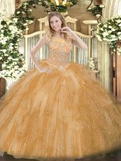 Gold Ball Gowns Tulle Scoop Sleeveless Beading and Ruffles Floor Length Zipper Sweet 16 Quinceanera Dress