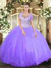 Lavender Ball Gowns Beading 15 Quinceanera Dress Clasp Handle Tulle Sleeveless Floor Length