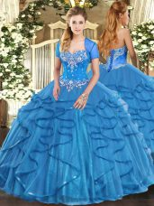 Sleeveless Beading and Ruffles Lace Up Ball Gown Prom Dress