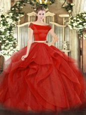 Off The Shoulder Short Sleeves Quince Ball Gowns Floor Length Appliques and Ruffles Red Tulle