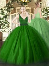 Decent Floor Length Zipper Quinceanera Dress Green for Military Ball and Sweet 16 and Quinceanera with Beading