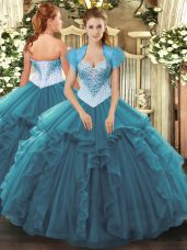 Floor Length Teal Ball Gown Prom Dress Sweetheart Sleeveless Lace Up