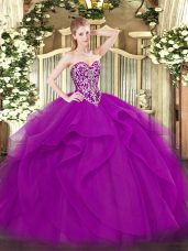 Fuchsia Ball Gowns Beading and Ruffles Sweet 16 Dress Lace Up Tulle Sleeveless Floor Length