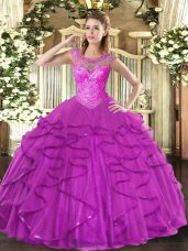 Sweetheart Sleeveless Lace Up Vestidos de Quinceanera Fuchsia Tulle