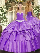 Lavender Ball Gowns Appliques and Ruffled Layers Quinceanera Dresses Lace Up Organza and Taffeta Sleeveless Floor Length