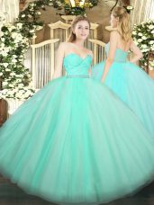 Admirable Floor Length Apple Green Ball Gown Prom Dress Tulle Sleeveless Beading and Lace