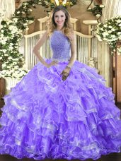 Charming Ball Gowns Sweet 16 Quinceanera Dress Lavender High-neck Organza Sleeveless Floor Length Lace Up