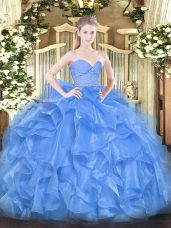 Clearance Organza Sleeveless Floor Length Quince Ball Gowns and Beading and Lace and Ruffles