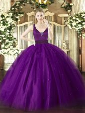 Ideal Purple Straps Neckline Beading Sweet 16 Quinceanera Dress Sleeveless Zipper