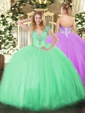 Apple Green V-neck Lace Up Beading Quinceanera Dresses Sleeveless