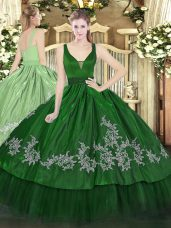Floor Length Dark Green Ball Gown Prom Dress Organza and Taffeta Sleeveless Beading and Embroidery
