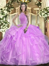 Organza High-neck Sleeveless Lace Up Beading and Ruffles Quinceanera Dress in Lilac