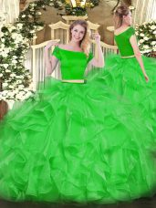 Cheap Off The Shoulder Short Sleeves Zipper Vestidos de Quinceanera Green Organza