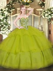 Olive Green Lace Up Sweetheart Beading and Ruffled Layers Quinceanera Dress Tulle Sleeveless