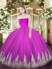 Fuchsia Strapless Zipper Appliques Ball Gown Prom Dress Sleeveless