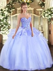 Lavender Organza Lace Up Quince Ball Gowns Sleeveless Floor Length Embroidery
