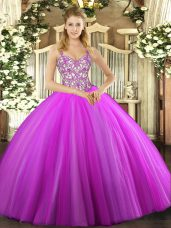 Lilac Tulle Lace Up Ball Gown Prom Dress Sleeveless Floor Length Beading and Appliques