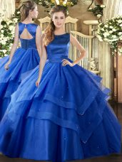 Fitting Floor Length Blue 15th Birthday Dress Scoop Sleeveless Lace Up