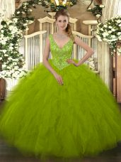 Attractive Olive Green Sleeveless Tulle Zipper Quinceanera Dresses for Military Ball and Sweet 16 and Quinceanera