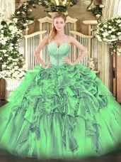 Stylish Floor Length Quince Ball Gowns Organza Sleeveless Beading and Ruffles