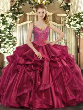 Ideal Straps Sleeveless Quinceanera Dresses Floor Length Beading and Ruffles Wine Red Organza