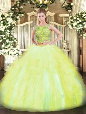 Ideal Yellow Green Two Pieces Tulle Scoop Sleeveless Beading and Ruffles Floor Length Lace Up Vestidos de Quinceanera