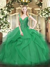 Delicate Floor Length Turquoise Quinceanera Gown V-neck Sleeveless Lace Up