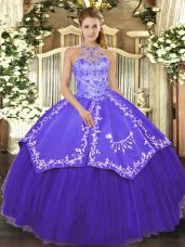 Beading and Embroidery Ball Gown Prom Dress Purple Lace Up Sleeveless Floor Length