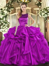Floor Length Lace Up Quinceanera Gown Purple for Military Ball and Sweet 16 and Quinceanera with Ruffles