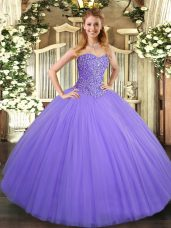 Sweetheart Sleeveless Lace Up Quince Ball Gowns Lavender Tulle