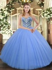 Sweetheart Sleeveless Tulle Quinceanera Gowns Beading Lace Up