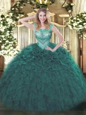 Dynamic Scoop Sleeveless Sweet 16 Dress Floor Length Beading and Ruffles Teal Organza