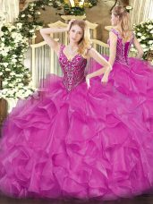 Eye-catching Fuchsia Organza Lace Up Sweet 16 Quinceanera Dress Long Sleeves Floor Length Beading and Ruffles