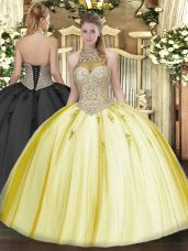 Halter Top Sleeveless Lace Up Quinceanera Gowns Yellow Tulle
