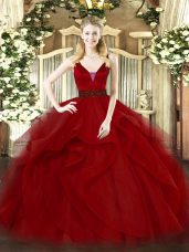 Tulle Straps Sleeveless Zipper Beading and Ruffled Layers Quinceanera Gowns in Wine Red
