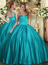 Floor Length Teal Sweet 16 Dresses Halter Top Sleeveless Lace Up