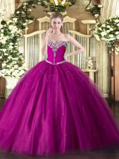 Perfect Floor Length Ball Gowns Sleeveless Fuchsia Sweet 16 Quinceanera Dress Lace Up