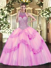 Romantic Rose Pink Sweet 16 Quinceanera Dress Military Ball and Sweet 16 and Quinceanera with Beading and Appliques Halter Top Sleeveless Lace Up