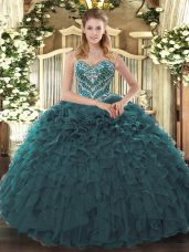 Discount Teal Sweetheart Neckline Beading and Ruffled Layers Quinceanera Dresses Sleeveless Lace Up