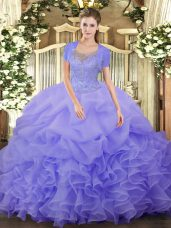 Noble Floor Length Clasp Handle Sweet 16 Dress Lavender for Military Ball and Sweet 16 and Quinceanera with Beading and Ruffled Layers