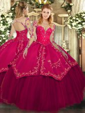 Suitable Lace and Embroidery Sweet 16 Quinceanera Dress Wine Red Lace Up Long Sleeves Floor Length